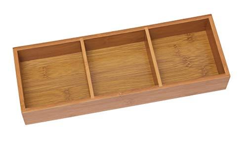 "Lipper International 823 Bamboo Wood 3-Compartment Organizer Tray, 11 5/8"" x 4 1/8"" x 1 3/4"""
