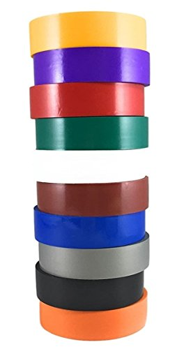 """TradeGear Electrical Tape ASSORTED GLOSSY Rainbow Colors – 10 Pk Waterproof, Flame Retardant, Strong Rubber Based Adhesive, UL Listed - Rated for Max. 600V and 80oC Use – Measures 60' x ¾"""" x 0.07"""""""