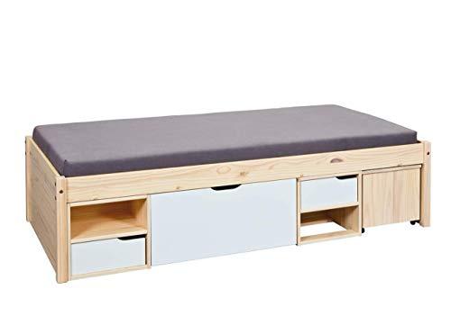 Inter Link Funktionsbett Kinderbett Gästebett 90x200 FSC Kiefer massiv Milkyskin lackiert Weiß, 96 x 209 x 48 cm