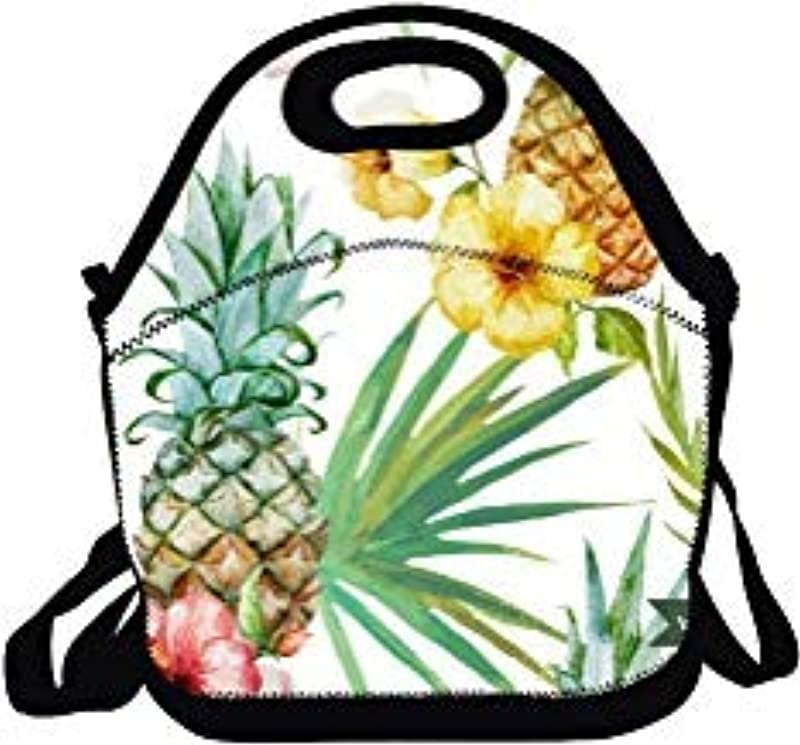 Colorful Tropical Leaves Plants Floral Lunch Bags Insulated Portable Lunch Tote Bags For Women For Work Back To School Lunch Boxes For Kids Girls Boys