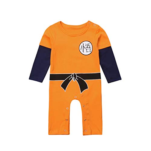 Dragon Ball Z Goku Design Baby Jungen Mädchen Bodys Strampler Cosplay Kostüm Goku-inspiriert Säugling Outfit Neugeborene Baumwolle Overall Kleidung (Orange, 12-18 Monate)