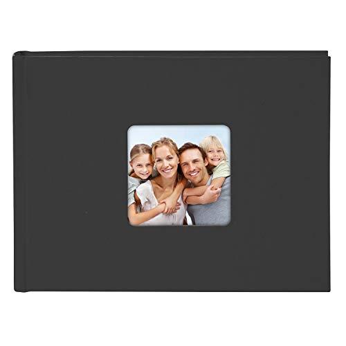 Goldbuch Living Recorte, 36 páginas Blancas con separadores de cristalina, álbum Pegar, Libro de Fotos con Funda de Lino 19 893, Cartón, Negro, 21,5x16,5 cm