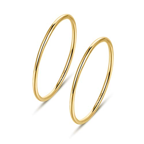 NOKMIT 2PCS 1mm 14K Gold Filled Rings Stacking Rings for Women Girls Stackable Thin Gold Ring Plain Statement Band Comfort Fit Size 5 to 10(7)