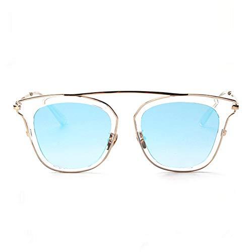 WHSS Sunglasses Personalidad Retro Cara Redonda Gafas De Sol Gafas De Sol Conduciendo Europa Y América Gafas De Sol Retro Gafas (Color : Blue)