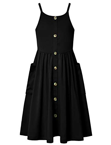 Jxstar Girls Strappy Summer Dresses Sleeveless Button Up Midi Dress Kids 3t 4t Black