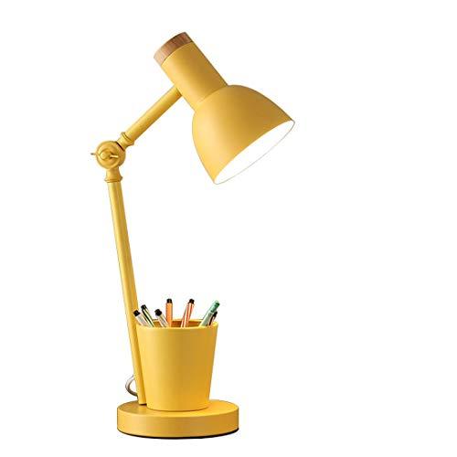 GYD E27 Lámpara de Mesa Aprendizaje Especial Protección de Ojos Lámpara de cabecera Lámpara de Noche con Soporte de lápiz Adecuado para la Oficina de Estudio de la habitación del Estudio,Yellow