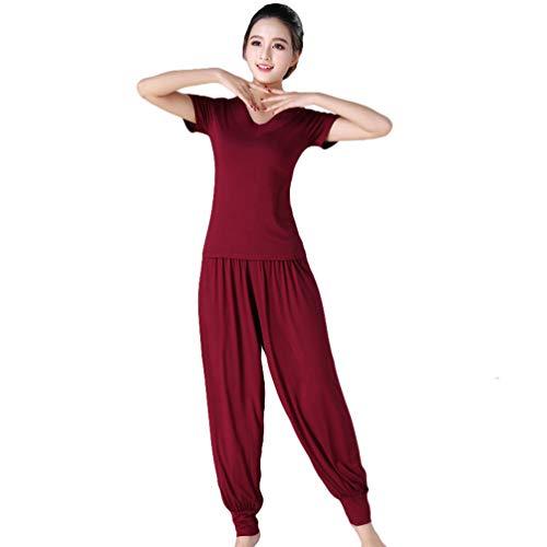 Yujeet Traje de Yoga para Mujer Estilo Suelto con Cuello en V Camisa de Yoga de Manga Larga/Corta Tops y Pantalones Florales Casuales (Vino Tinto#1, Asia XL)