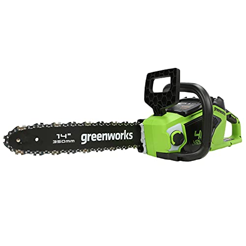 Greenworks Motosierra de cadena con batería GD40CS15 (Li-Ion 40V 12 m/s velocidad cadena 35cm longitud sable 180ml volumen tanque aceite potente motor sin escobillas sin batería y cargador)
