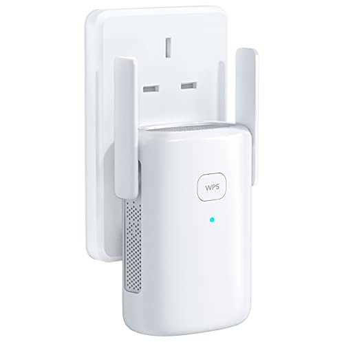 WLAN Repeater, WLAN Amplifier up to 1200 Mbit/s, AP, 2.4 GHz 5G with Ethernet Port and Power Interface, Easy Setup with WPS, Compatible with Most Routers