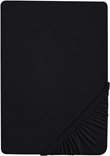 biberna 0002744 Feinbiber Spannbetttuch (Matratzenhöhe max. 22 cm) (Baumwolle) 140x200 cm -> 160x200 cm, schwarz