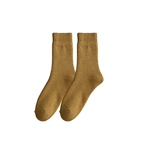 IAMZHL 3 paia casuali di calzini da donna caldi e spessi corti e medi sportivi di colore puro - Giallo,36-44