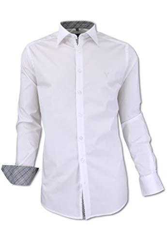 Carlo Colucci Stretch-Hemd mit Kentkragen in Weiß Weiß XL