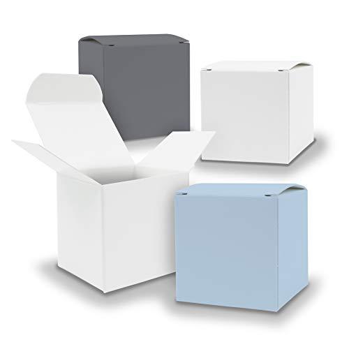 itenga Schachteln V13 24x Würfel 5cm gemischt Grau Weiss Eisblau Nordic Boxen zum Basteln