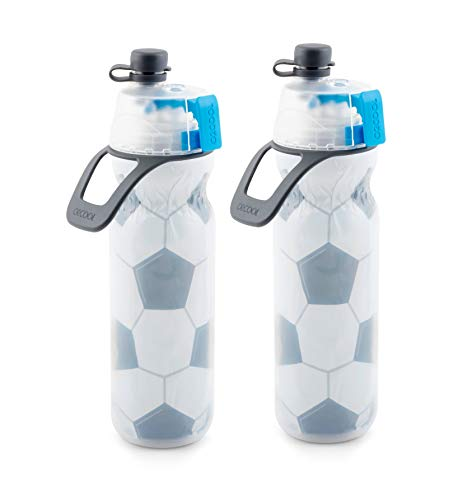 O2COOL Arctic Squeeze Insulated Mist 'N Sip Water Bottle | 2 Pack- 20 oz Sport Series | BPA Free, 2-in-1 Mist and Sip Function w/No Leak Pull Top Spout (Soccer 2 PK)