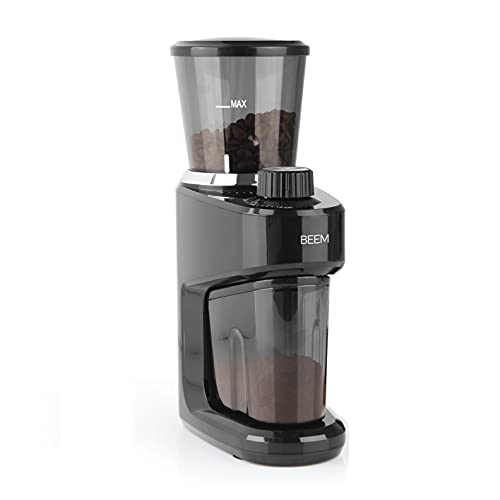 BEEM GRIND-INTENSE Elektrische Kaffeemühle - 160 g   Edelstahl-Kegelmahlwerk   15-stufige Mahlgradeinstellung   Abnehmbarer Bohnenbehälter   150 Watt