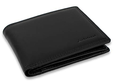 LEDERHAND – Premium Geldbörse handgemacht und doppelt genäht Herren Portemonnaie Portmonaise Portmonee mit Münzfach und Platz für 13 Karten + 1 Sichtfach mit RFID NFC Schutz - Geschenk |(Schwarz)