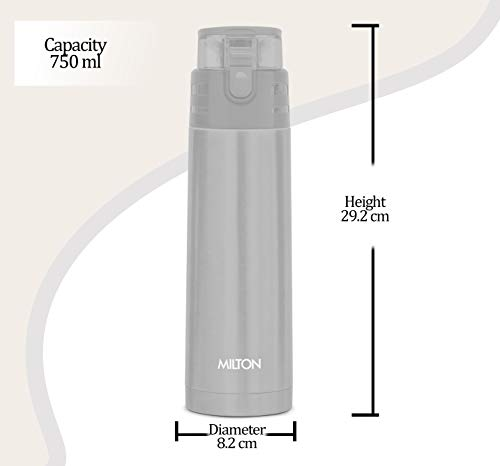 Milton Atlantis 900 Thermosteel Hot and Cold Water Bottle, 750 ml, Silver