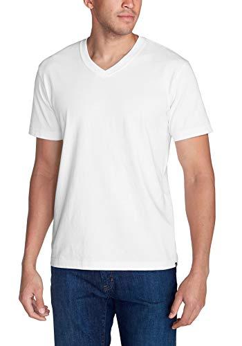 Eddie Bauer Camiseta básica de manga corta para hombre con cuello en V, mezcla de algodón, ideal para trekking, absorbe la humedad Blanco XL