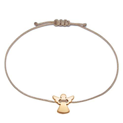 Pulsera con ángel de la guarda, color oro rosa, marrón, tamaño ajustable hasta aprox. 21 cm, amuleto de la suerte, para mujeres y niñas, en bolsa de joyas como regalo