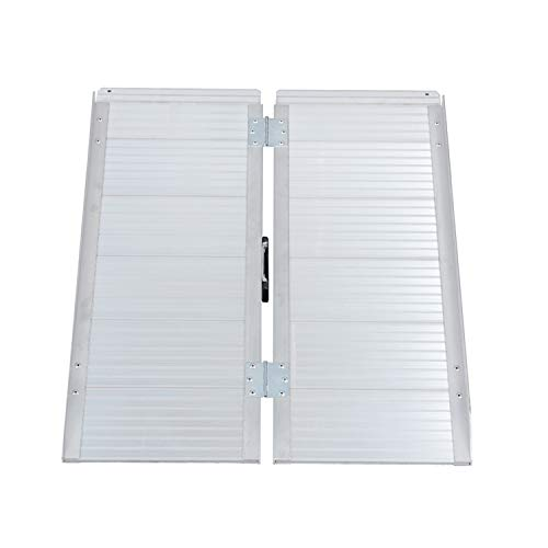 BuyHive 2FT Wheelchair Ramp Aluminum Scooter Gateway Doorway Access Loading Stair Threshold Ramps