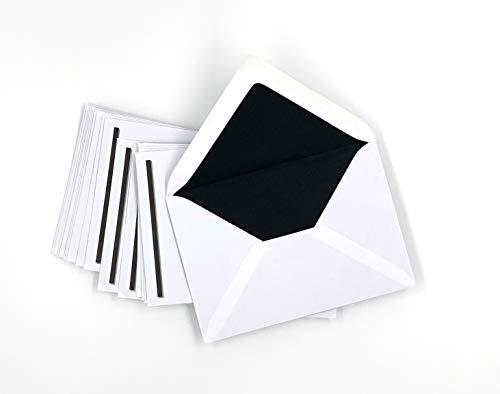 50 Trauerumschläge mit schwarzem Seidenfutter und schwarzem Balken, C6 = 162 x 114 mm