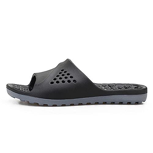 Verano Interior Zapatillas,Zapatillas de secado rápido con fugas de EVA de punta abierta para hombres, zapatos de playa y piscina unisex, sandalias de ocio para el hogar de verano-37EU_Black_gray