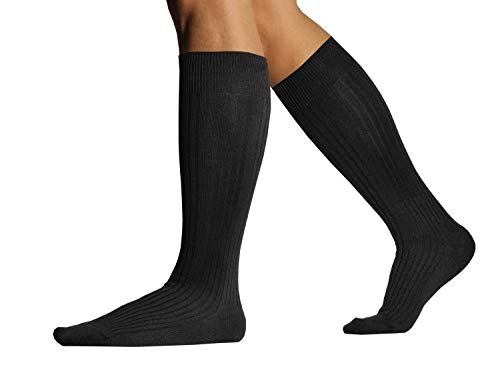 L.Martin Mens 99-100% Pima Cotton Black Over the Calf Dress Socks 3Pairs 10-13/L