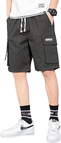 Pantalones cortos de los hombres Color sólido Multi-bolsillo cintura elástica moda más tamaño