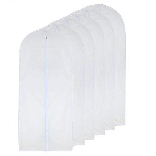 HomeClean Bolsa de Ropa Transparente 60cm x 140cm Vestido Largo a Prueba de polillas Bolsas de Ropa Cubierta de Polvo con Cremallera Completa Transpirable Blanca para guardarropas Paquete de 6