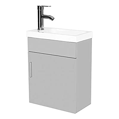 16 Inch Modern Bathroom Vanity Cabinet Wall Mounted PVC Vanity and Sink Combo with Ceramic Vessel Sink, Chrome Faucet and Pop Up Drain for Small Bathroom