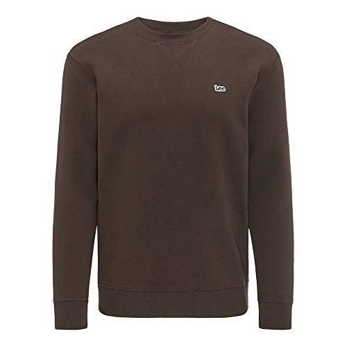 Lee Mens Plain Crew SWS' Sweater, Turkish Coffee, Medium