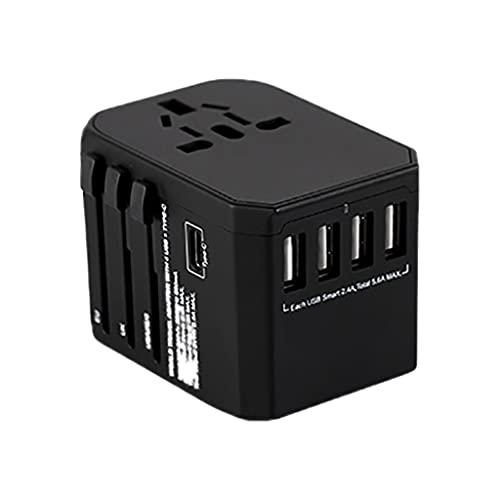 Adaptador Enchufe De Viaje International Power Adaptter Travel Enchufe, 4 puertos USB Trabajo universal para 150 países, adaptador tipo C Tipo A Tipo G Tipo IF para el Reino Unido Japón China Europea