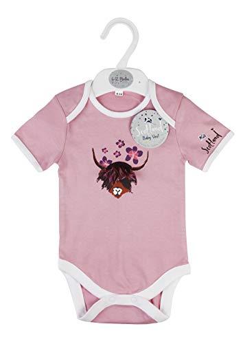 Tempelinsel-Kollektion schottische Hochlandkuh Kurzarm | 0-6 Monate | Baby Weste mit Druckknopf und Umschlagkragen Gr. 0-6 Monate, multi