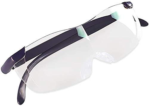Glas - Oude Man Lezen Bril Glas HD Horloge Mobiele Telefoon Headset Hoge Vergroting Lens Draagbare Ouderen met 100-300 Graden Lezen Bril - Rood + Donker Blauw + Paars Zwart + Vergroting: 1.