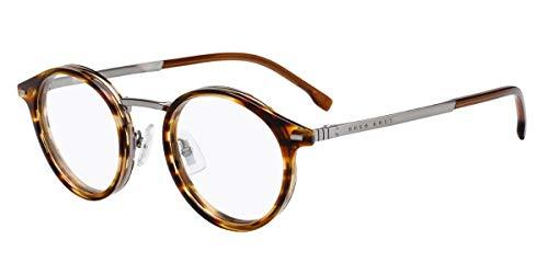 Hugo Boss Brille (BOSS-1056 EX4) Titan - Acetate Kunststoff braun marmor stil - ruthenium