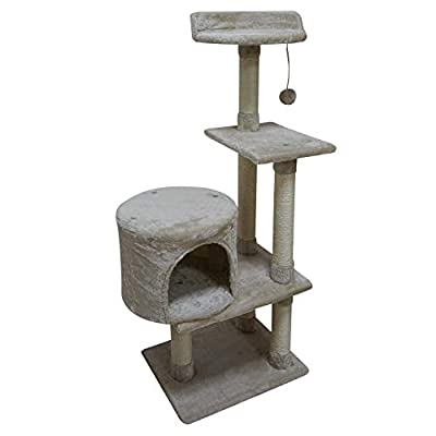 FISH&NAP US06M Cat Tree Cat Tower Cat Condo Sisal Scratching Posts with Jump Platform Cat Furniture Activity Center Play House Beige