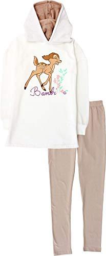 Disney Bambi Damen Schlafanzug Hoodie Oberteil und Hose Loungewear Set Gr. XL, beige