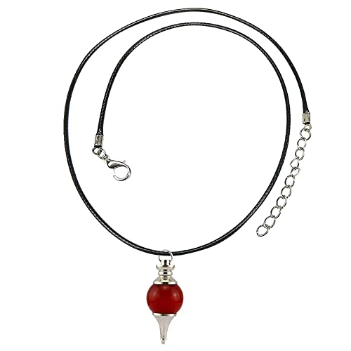 DOUHEN Collar de cristal cornalina para mujer con punta de bola de piedra cornalina – colgante de cornalina con cordón ajustable, Aluminio,