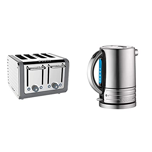 Dualit Architect 4 Slice Toaster | Stainless Steel with Grey Trim|Extra-Wide Slots–Peek and Pop Function & Architect Kettle | 1.5 L 2.3 KW Stainless Steel Kettle with Brushed Finish