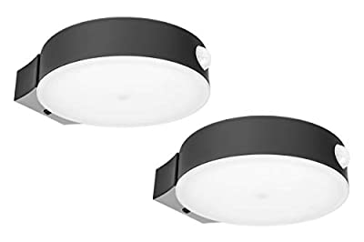 Hyperikon LED Solar Lights Outdoor, Round Full Cut Off, Wall Pack Fence Sconce, 4000K Daylight, PIR and Photocell Sensor 2 Pack