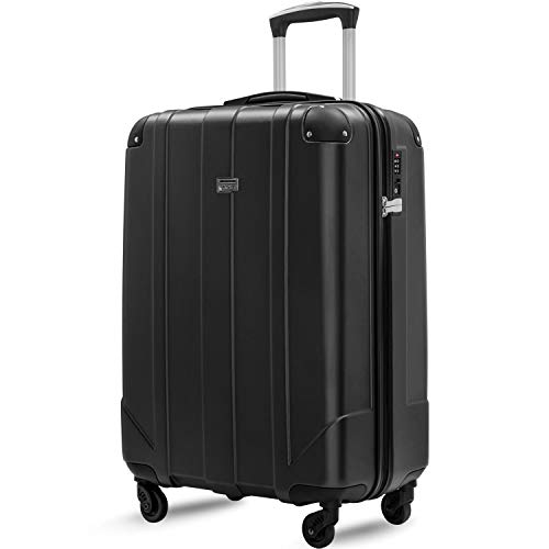 Merax Hardside Spinner Luggage with Built-in TSA and Reinforced Corners, Eco-friendly P.E.T Light Weight Carry-On 20' 24' 28' Suitcases (20 inch, Black)