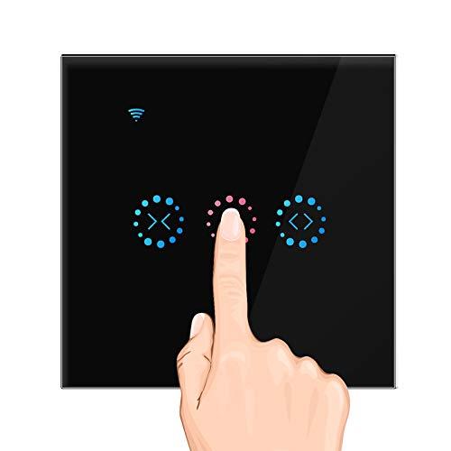 OurLeeme Roller Shutter Switch, Smart WiFi Persiana Cortina Interruptor táctil Función de sincronización App Control de Voz Compatible con Alexa/Google Home (se Necesita Cable Neutro) (Negro)