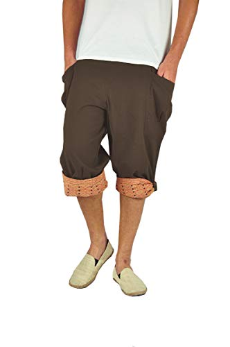 virblatt - Pantaloni Corti Uomo Come Pantaloni alla Turca in Taglia Unica con Motivi Tessuti a Mano e Comoda Cintura Elastica in Vita Che Vestono Perfettamente - Großzügig Marron