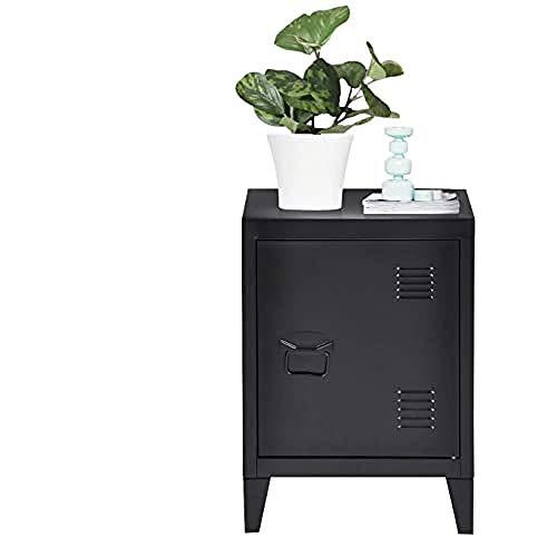 MEUBLE COSY rangement bureau Metallschrank, Beistelltisch, Mini-Schrank Bücherregal, Maße 40,5x30,5x57,5cm-schwarz, Metall