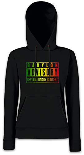 Urban Backwoods Babylon Advisory Hoodie Sudadera con Capucha para Mujer Negro Talla S