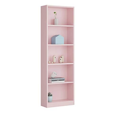 Habitdesign Estantería Juvenil 6 baldas, Librería Vertical, Modelo I-Joy, Acabado en Color Rosa Nube, Medidas: 180 cm (Alto) x 52 cm (Ancho) x 25 cm (Fondo)