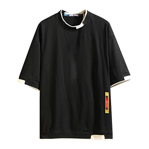 Yowablo Herren Poloshirt Polohemd Stehkragenshirt Kurzarmshirt Funktionsshirt Sportshirt Fitness Shirt Tee T-Shirt Sporthemd Trainingsshirt Sportswear T-Shirt (3XL,Schwarz)