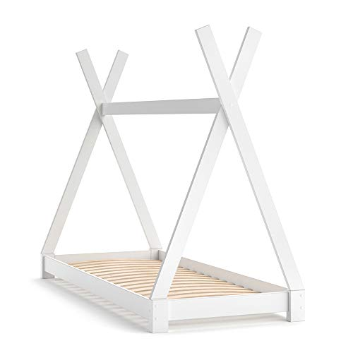 VitaliSpa Kinderbett Tipi Hausbett Indianer Bett Kinderhaus Massivholz Zelt Holz (Weiß, 80 x 160 cm)