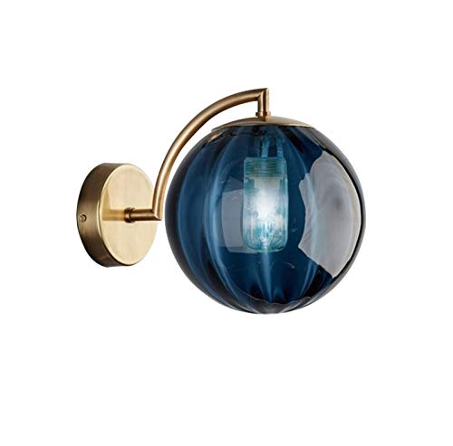 Lámpara LED de pared con bola de cristal nórdico para sala de estar, dormitorio, hogar, mesita de noche, lámpara de pared de baño, lámpara de pared (color de la pantalla: azul)