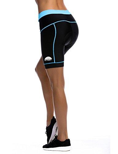 iCreat Damen Fahrradhose Radhose Kurz Radlerhose Radshort Sporthose mit Sitzpolster, Blau GR: DE M/ ASIA L - 5